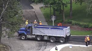 Dump Truck With Hot Asphalt And Asphalt Paver Machine Stock Video ...