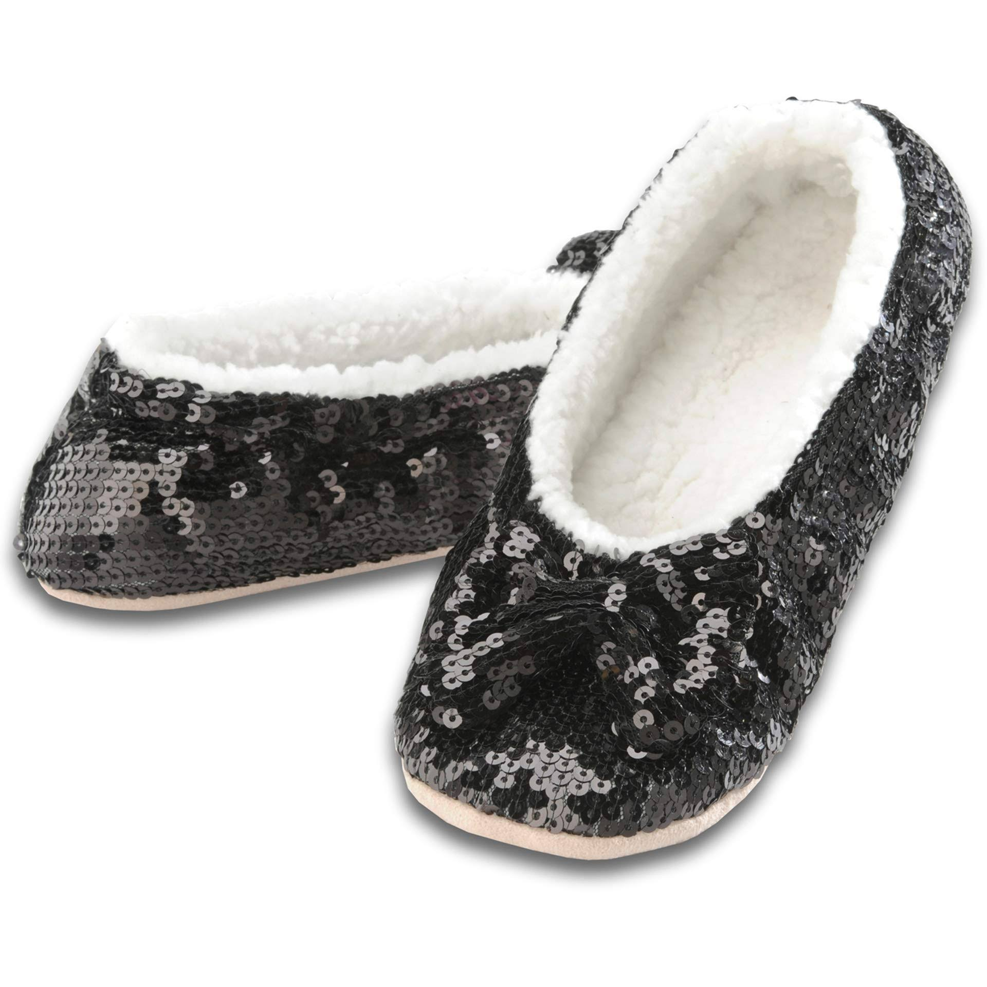 Snoozies Womens Ballerina Slippers - Sequin Shine with Bow, Black, Small