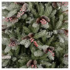 75 Flocked Slim Christmas Tree by Slim Christmas Tree 210 Cm Flocked Dunhill With Pine Cones