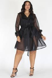Plus Size Elegant Sheer High Fashion Wrap Tie Coat