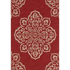 Hampton Bay Medallion Red 5 ft x 7 ft Indoor Outdoor Area Rug