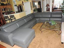 Macy s 6 Pc Nevio Grey Leather Quad Power Reclining Chaise Sectional