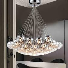 modern chrome glass balls led pendant chandelier light for living