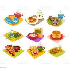 klassisches frühstücksideen gesetzt comicillustration mit pfannkuchen und kaffee donuts gekochtes ei cornflakes kuchen und sandwich kekse flache