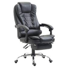 HomCom High Back Reclining PU Leather Executive Home Office Chair With  Retractable Footrest - Black Leather Tufted Office Chair Home Design Ideas Mcs 444 Executive Office Chair Specification Amazonbasics Highback Brown New Big Commander Professional Worksmart Bonded Black Deco Meeting Libra Mobili Fnitureexecutive Dimitri Hot Item Metal For Fniture