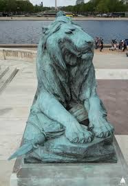 Grant Memorial Lion Before Conservation