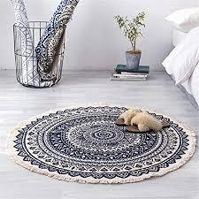 runder teppich boho einfach baumwolle und leinen retro