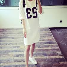 2015 Summer New Korean Street Fashion Star Fan 23 Printing Loose Big Yards Long T