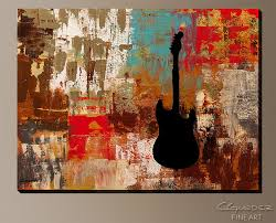 Simple Guitar Canvas Wall Art Painting Print Picture Bass Hanging Design Popular Types Personalized