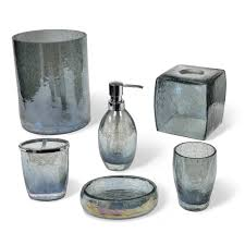 Crackle Glass Bathroom Set by Veratex Cracked Blue Glass Bathroom Accessories Collection