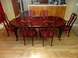 Queen Anne Cherry Dining Table Awesome Room Set 6 Chairs Leaf Idea Solid