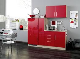 singleküche in rot hochglanz eiche sonoma dekor