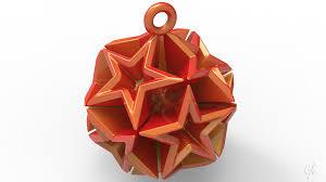 Geometric Stars Christmas Tree Ornament Small 3D Print 9672