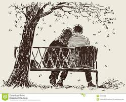 Couple The Bench Stock Vector Image View Pair