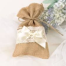 Burlap Lace Wedding Bridal Shower Favor Bag With Ribbon Bow EWFB066 As Low 165