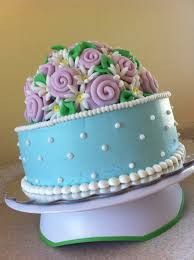 blue and pink antique ribbon rose birthday cake