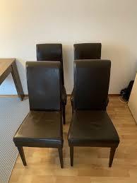 4 stühle esszimmer leder braun auch einzeln guter zustand