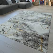 kurzflor teppich abstraktes design grau gold