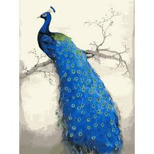 3D Peacock DIY Digital Painting By Numbers Modern Wall Art Canvas Unique Gift For