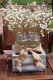Rustic Wedding Decoration Ideas Country Reception Decorations Table Centerpiece With White Flowers In Wooden