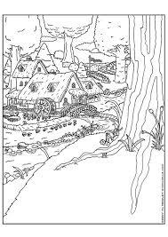 Coloring Page Elf Village