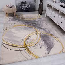 teppich wohnzimmer schlafzimmer flur teppich kreisel muster gelb vimoda homestyle