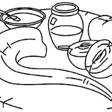 Shofar And Honey Apple On The Table Rosh Hashanah Coloring Page