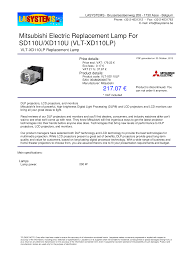 Mitsubishi Projector Lamp Replacement Instructions by Download Free Pdf For Mitsubishi Sd110u Projector Manual