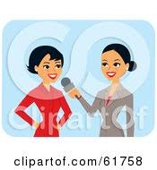 Royalty Free RF Clipart Illustration Of A Friendly Hispanic News Reporter Interviewing Another Woman By Monica
