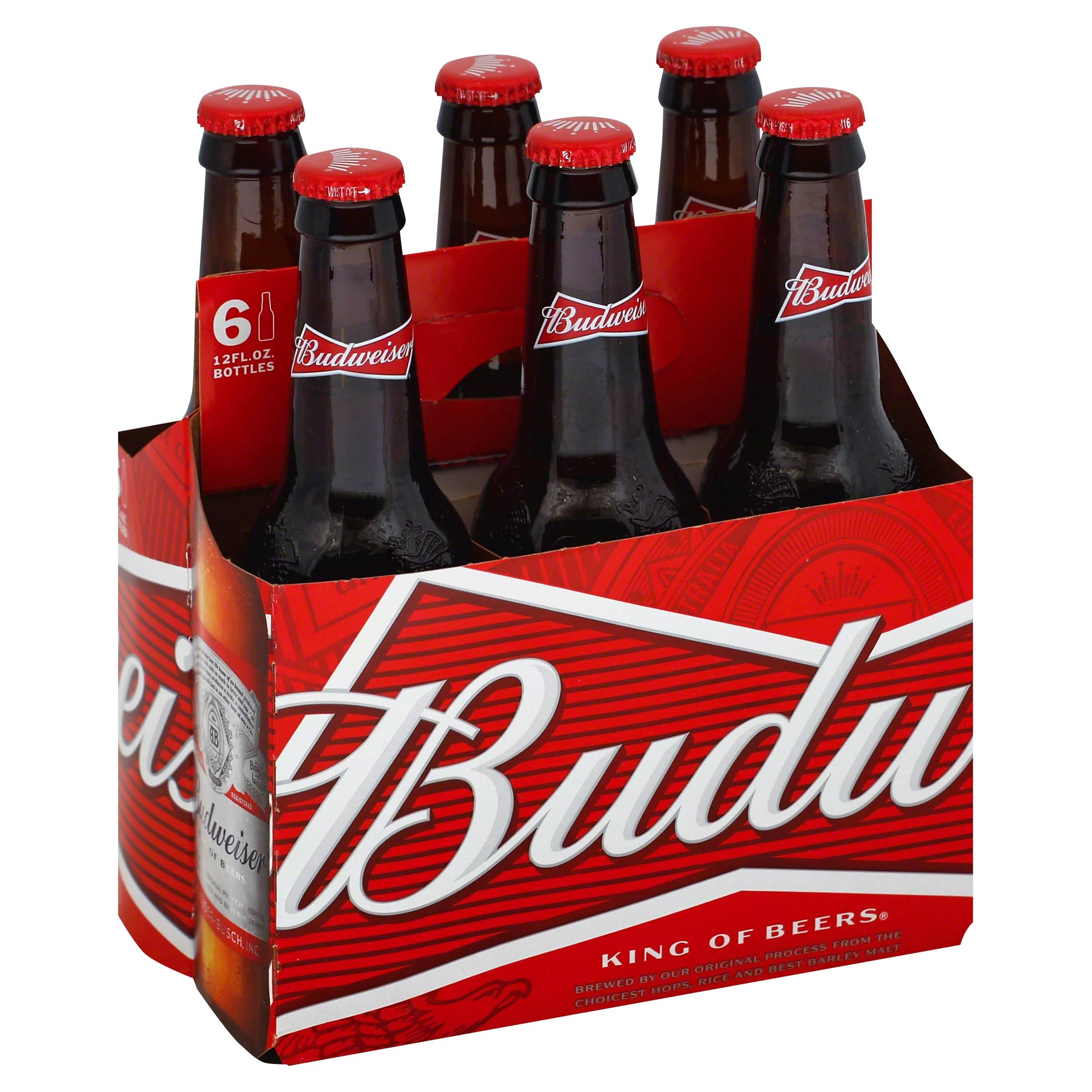 Budweiser Beer, Lager - 6 pack, 12 fl oz bottles