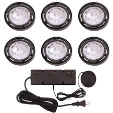 hton bay 6 light xenon black cabinet puck light kit