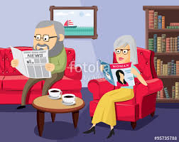 Happy Man And Woman On The Sofa In Living Room Simple Cartoon Vector Illustration Stock Image Royalty Free Files Fotolia