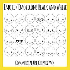 Emoji Emoticons Black And White Clip Art Set For Commercial Use