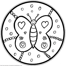 Amusing Kids Mandala Coloring Pages Printable Children Page Butterfly