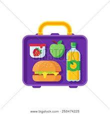 School Lunch In Open Lunchbox Healthy Dinner Food Box Kids Break Time Schoolkid