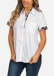 Career Wear Cotton White Button Up Short Sleeve 1 Pocket Shirt