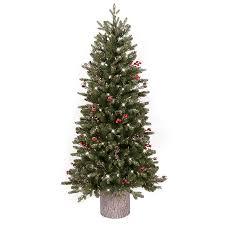 Best Fraser Fir Artificial Christmas Tree by Shop Ge 4 5 Ft Pre Lit Frasier Fir Slim Flocked Artificial