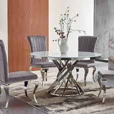 rom barock essstuhl stuhl samt silbergrau