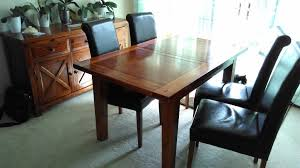 Extending Acacia Wood Dining Table 4 Chairs