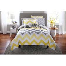 Bed Comforter Set by Mainstays Yellow Grey Chevron Bed In A Bag Bedding Comforter Set