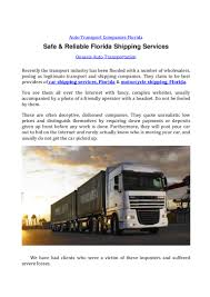 100 Trucking Companies Florida Safe Reliable Shipping Services