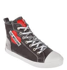 Love Moschino Schuhe Sneaker Samt Logo Patches Reissverschluss Grau IIOVNV