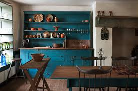 Rustic Vintage Teal Blue Kitchen