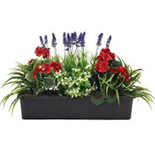 Artificial Mixed Flower Window Box Trough Container With Yucca Geraniums Starflower And Lavender