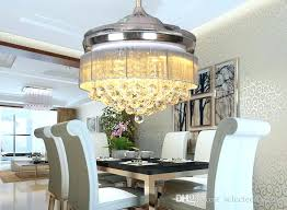 Dining Room Chandelier Ceiling Fan Crystal Light With Fabric Drum Lamp Shade Inch Fans Remote Control From