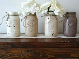 Mason Jar Kitchen Decor Painted Jars Set Of 4 Distressed Neutral Color Wedding