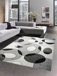 moderner teppich wohnzimmerteppich barock ornamente grau