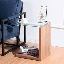 goldfan moderner nachttisch rechteckiger kleiner beistelltisch glas sofa tisch holz geeignet für schlafzimmer wohnzimmer büro braun