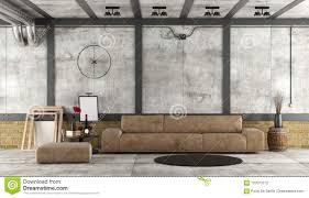wohnzimmer in einem dachboden mit beton und backsteinmauer
