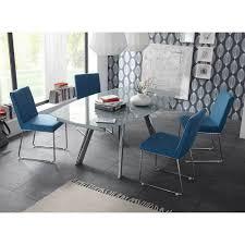 essgruppe mit glastisch stühle in blau stoff 5 teilig